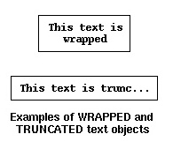 Examples of WRAPPED and TRUNCATED text objects